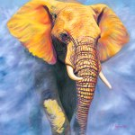 Sol Invictus, elephant painting by Sarah Soward