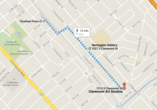 First Friday map of venues near Claremont Art Studios